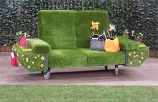 Műfű design kanapé kivitelezés